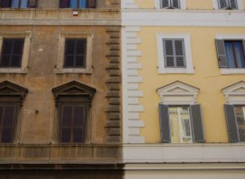 Esempio di restauro facciata di edificio urbano